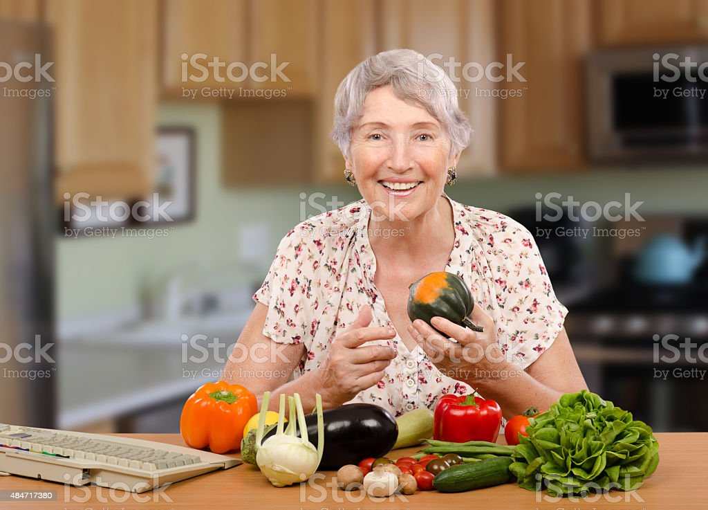 Senior client of nutrition consultant stock photo