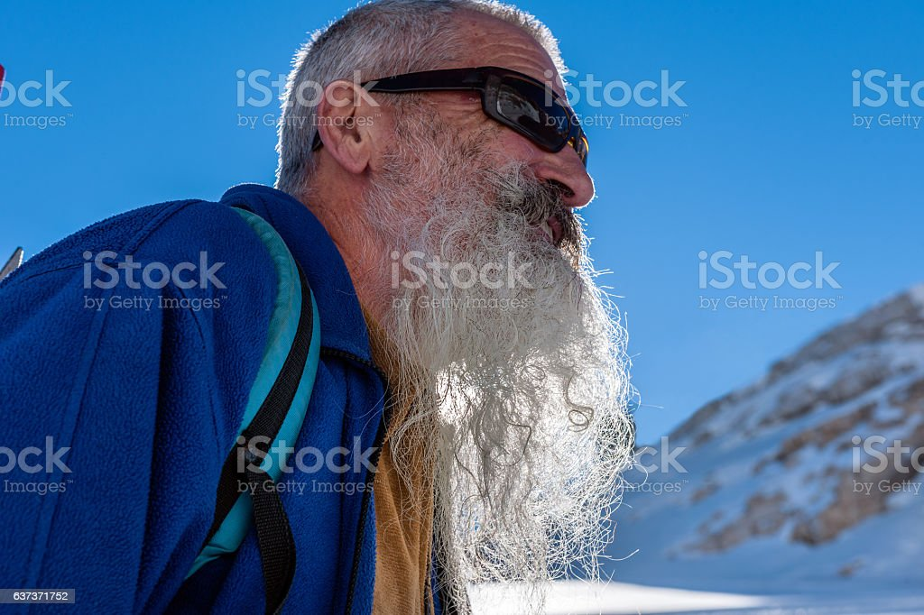 Senior Climber with Long Beard, Kanin, Julian Alps, Slovenia, Europe. stock photo