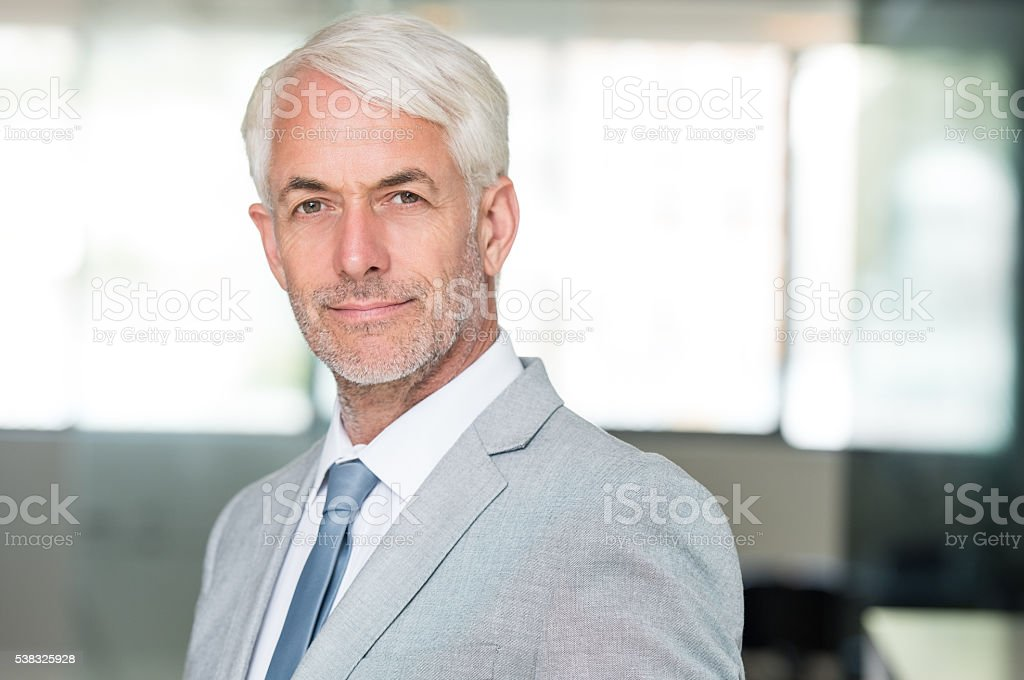 Senior confident business man stock photo