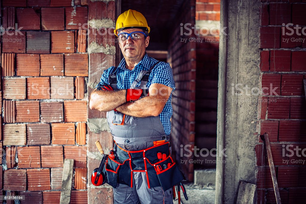 Senior construction worker stock photo