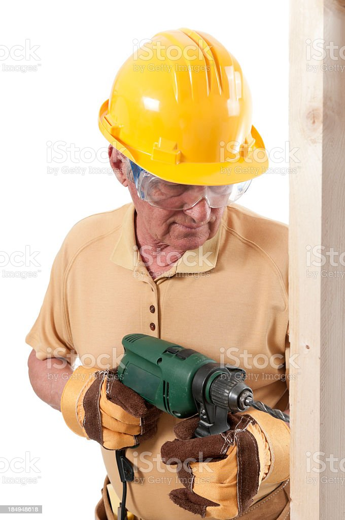 Senior constructor man with drill, isolated on white stock photo