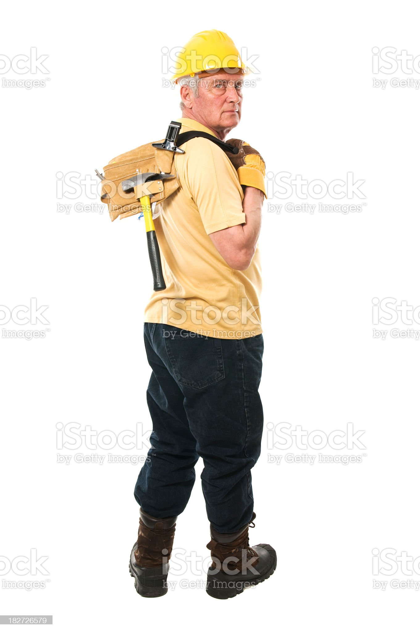 Senior constructor with tools royalty-free stock photo