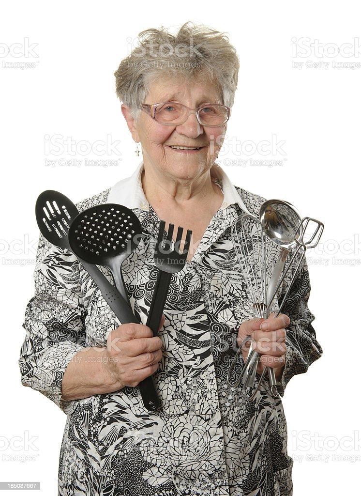 Senior cook isolated on white royalty-free stock photo