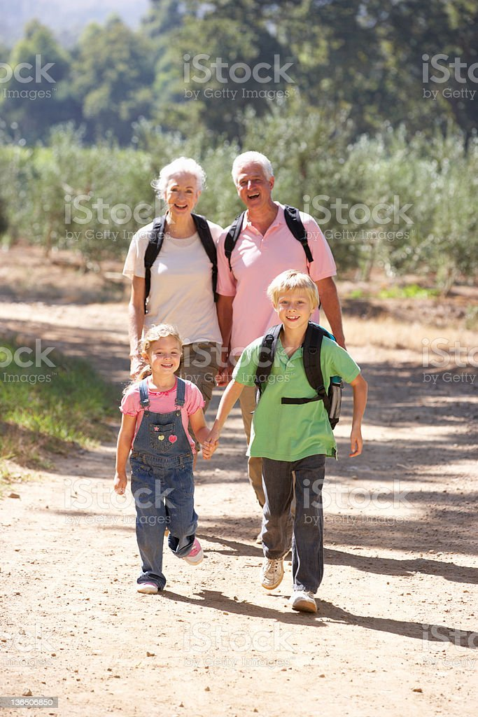 Senior couple and grandchildren on country walk royalty-free stock photo