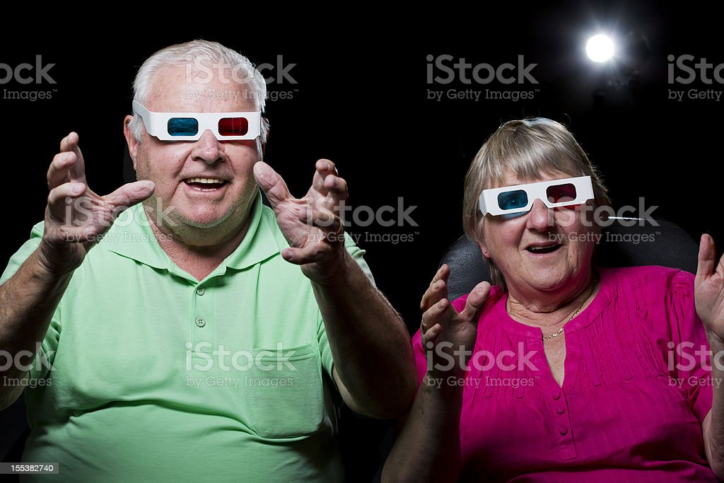 Senior Couple at a 3D Movie royalty-free stock photo
