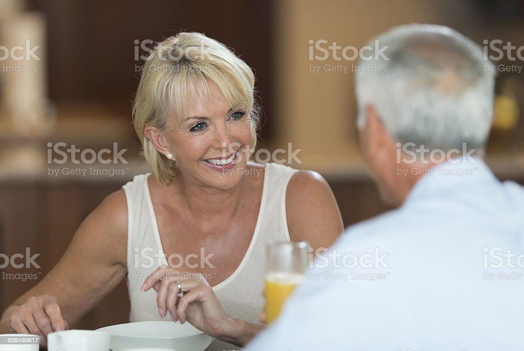 Senior Couple At Breakfast royalty-free stock photo