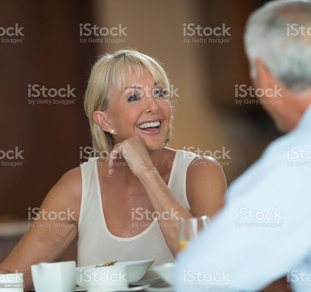 Senior Couple At Breakfast royalty-free stock photo