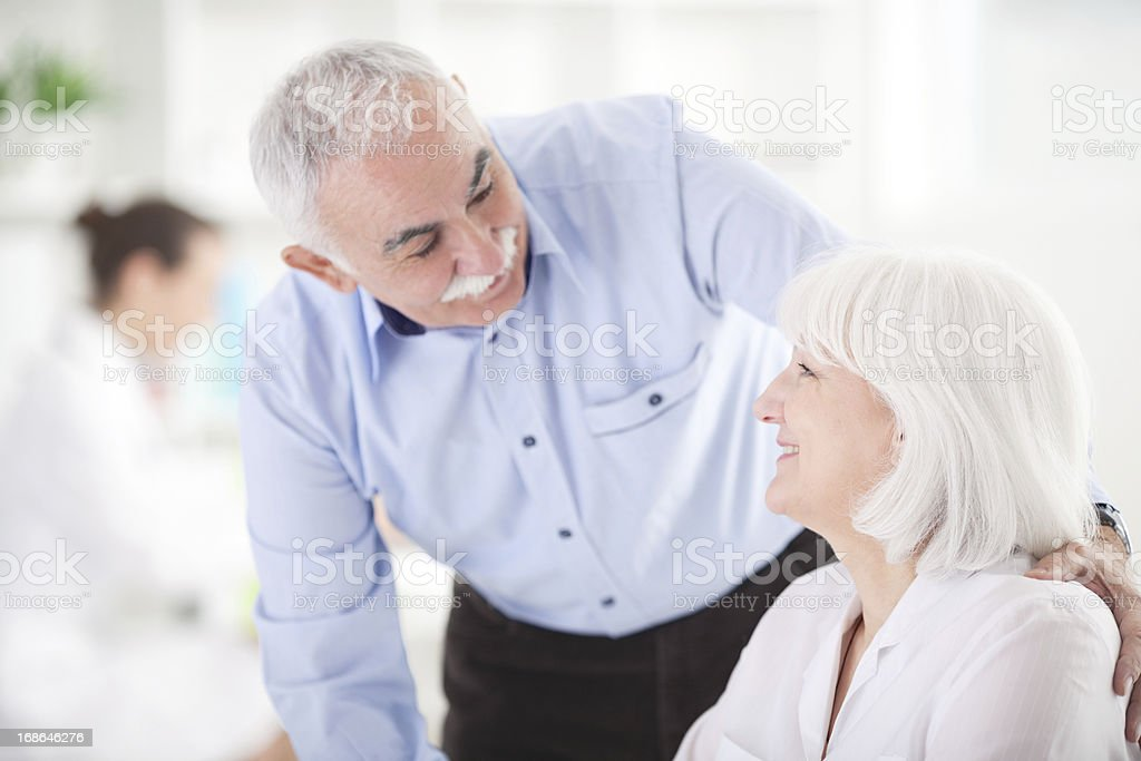 Senior couple at doctor's office. royalty-free stock photo