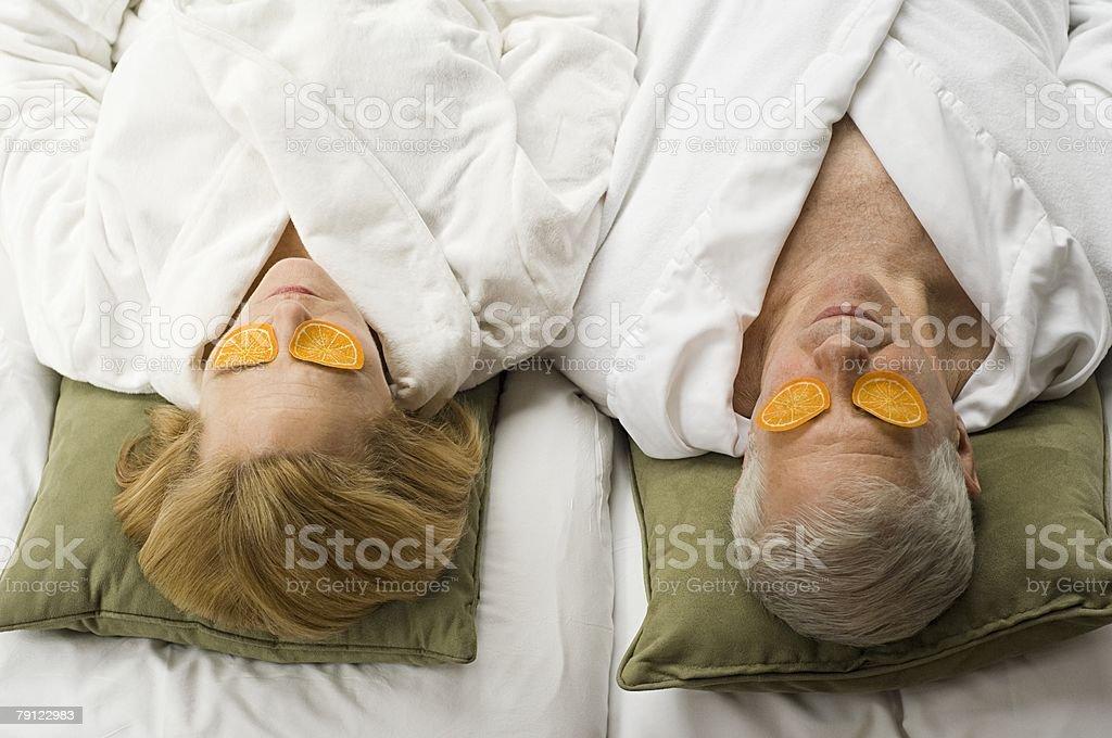 Senior couple at health spa royalty-free stock photo