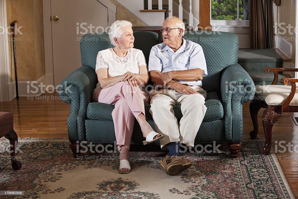 Senior couple at home stock photo