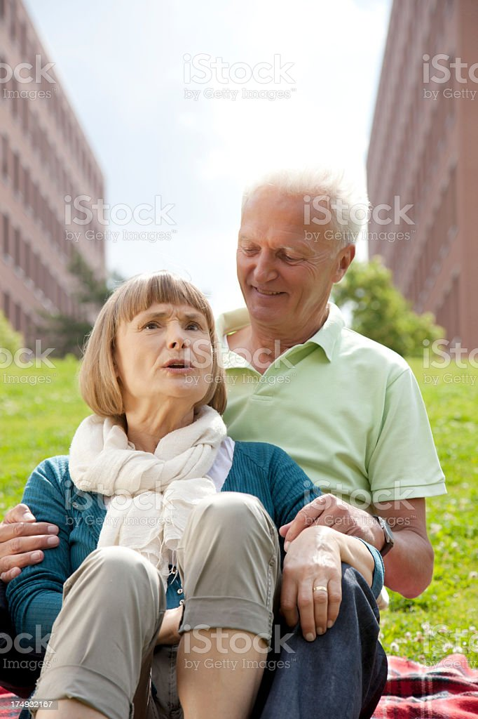 Senior couple at the park royalty-free stock photo