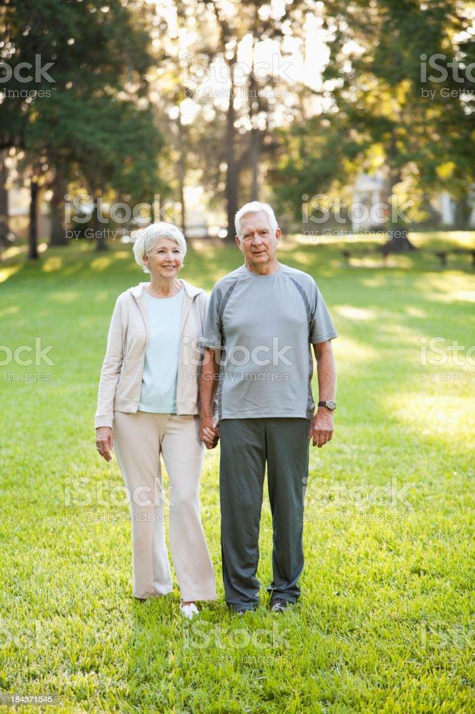 Senior couple at the park royalty-free stock photo
