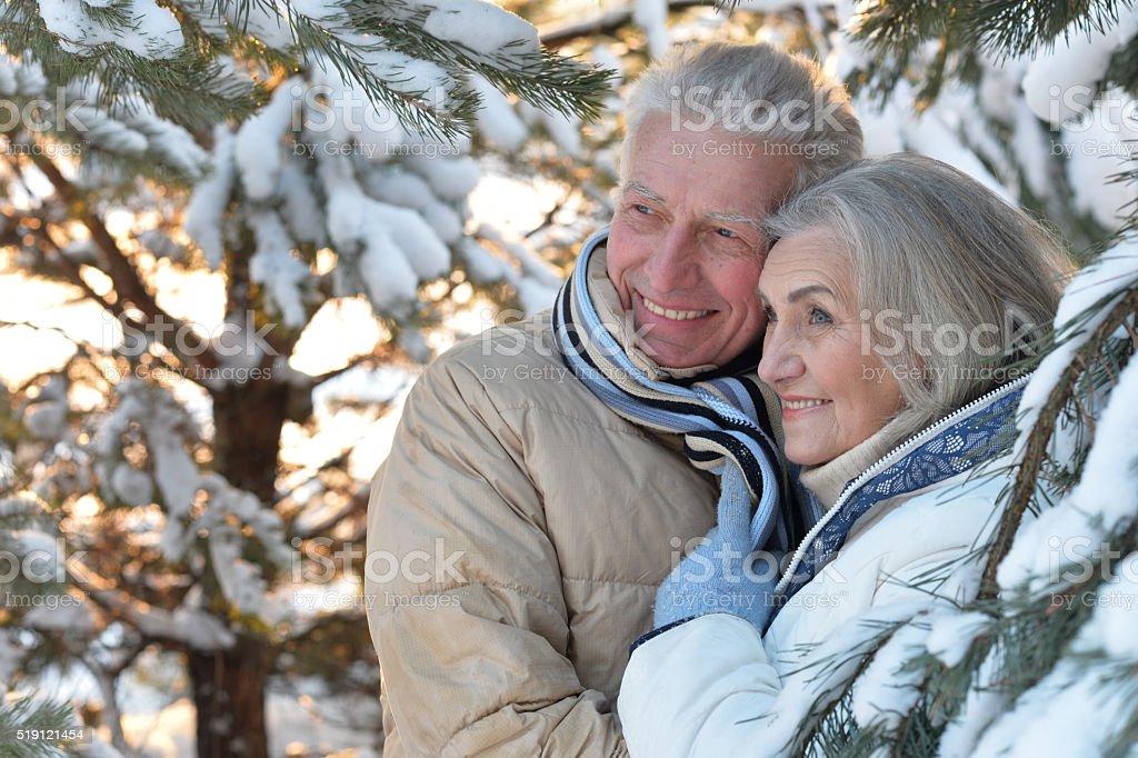 senior couple at winter outdoors stock photo