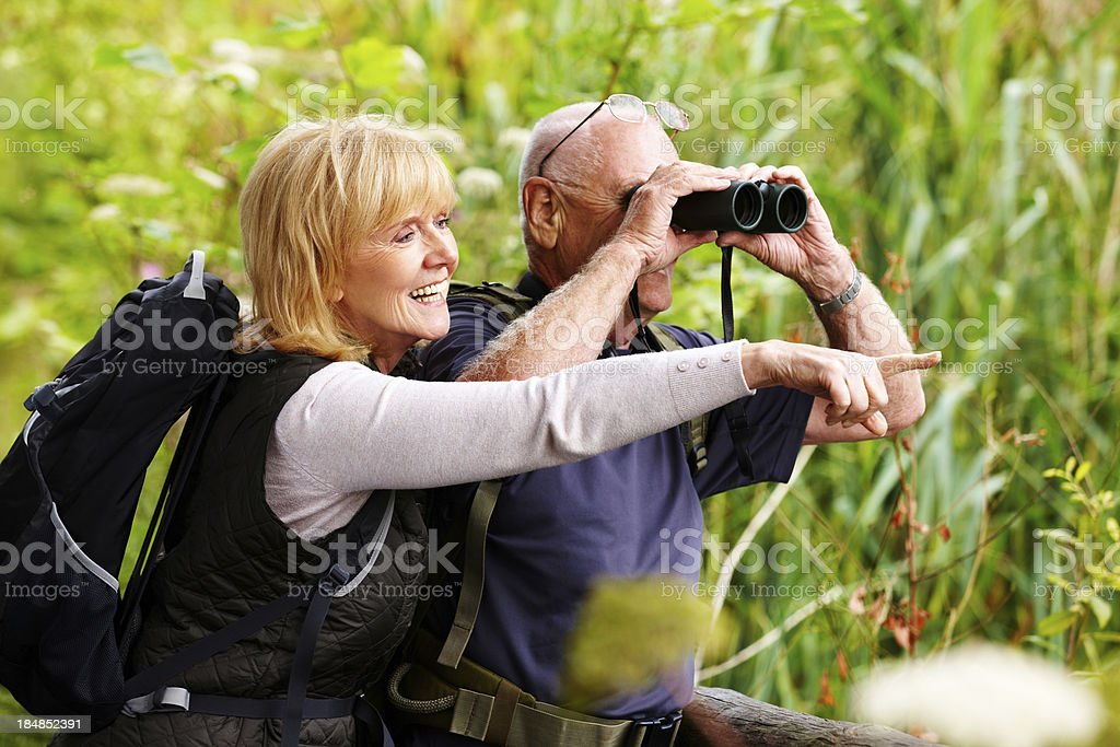 Senior Couple Bird Watching stock photo