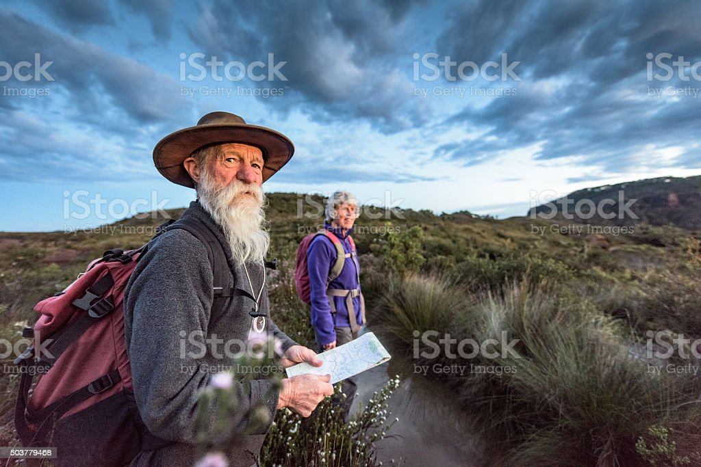 Senior couple bushwalking in the Blue Mountains Australia stock photo