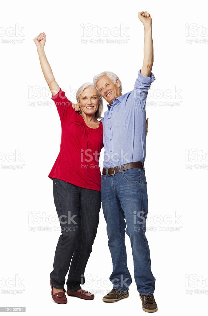Senior Couple Cheering With Clenched Fists - Isolated royalty-free stock photo