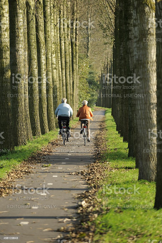 Senior couple cycling in the countryside royalty-free stock photo