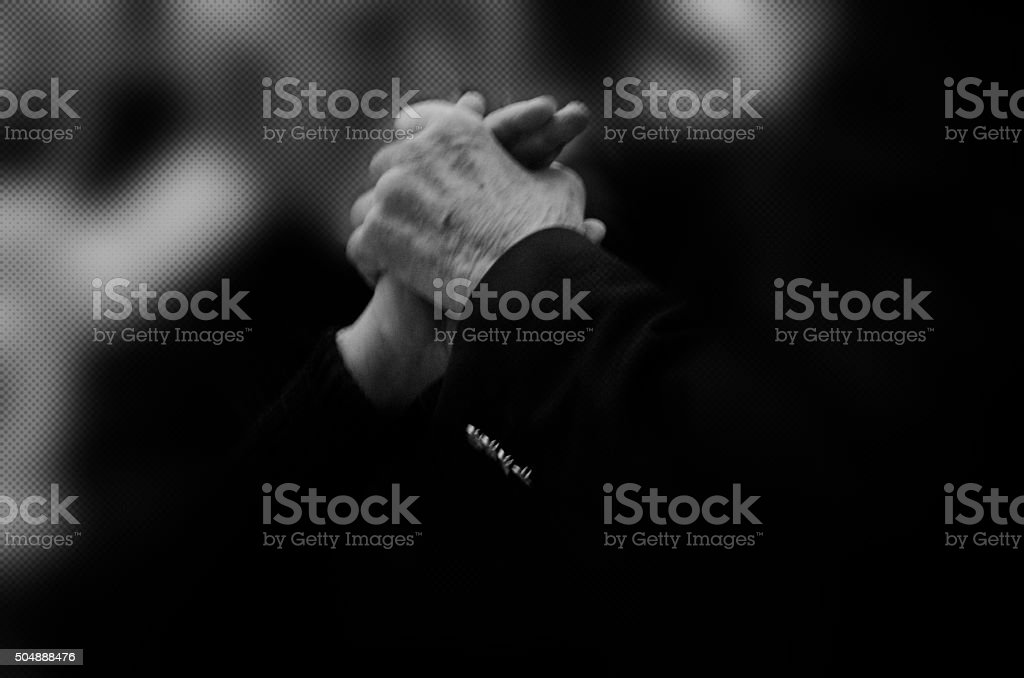 Senior couple dancing and holding hands stock photo