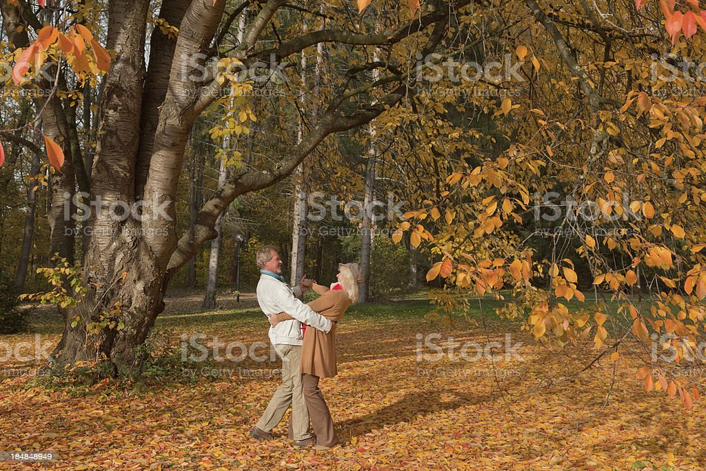 Senior couple dancing under tree in autumn royalty-free stock photo