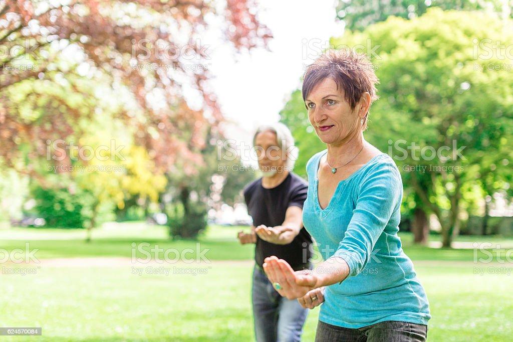 Senior couple doing tai chi in park, Tübingen, Germany stock photo