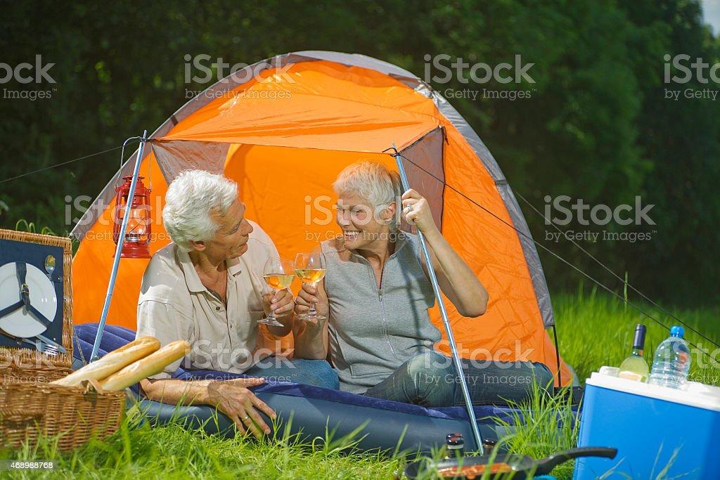 Senior couple drinking white wine stock photo