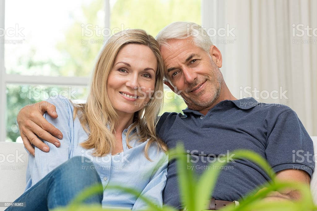 Senior couple embracing stock photo