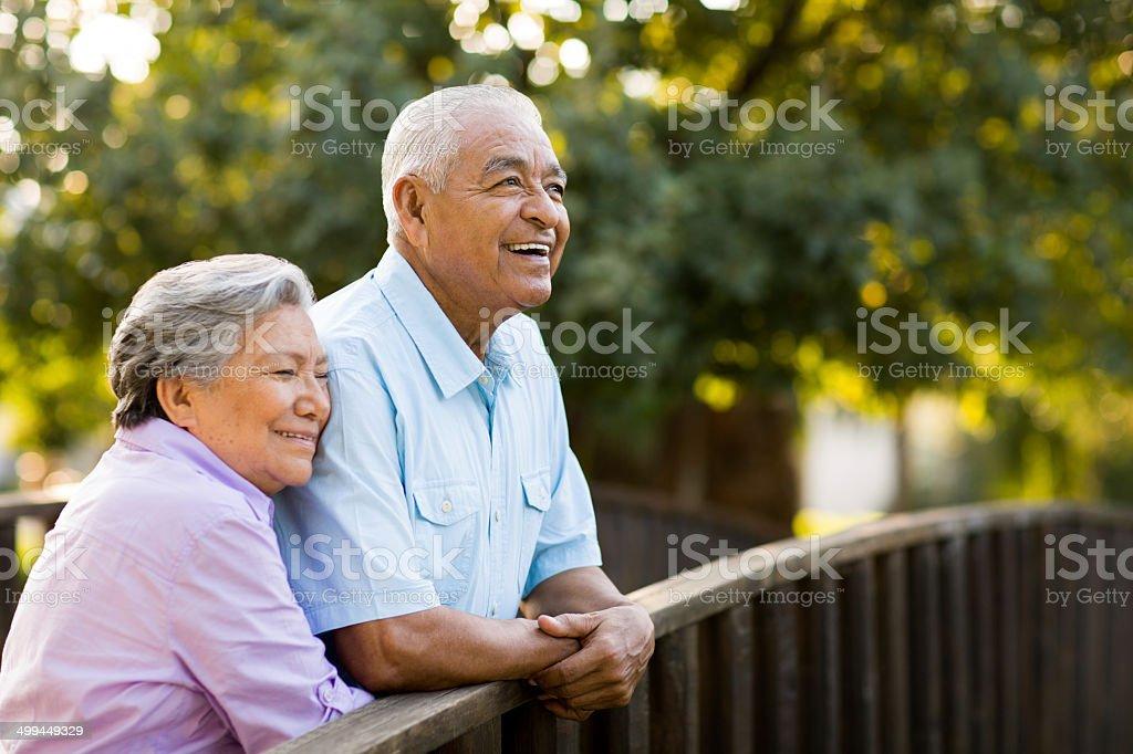 Senior couple enjoy afternoon on bridge stock photo