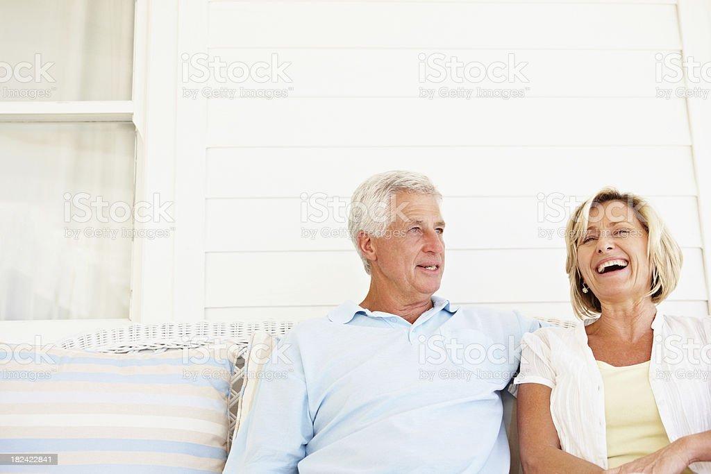 Senior couple enjoying a chat royalty-free stock photo