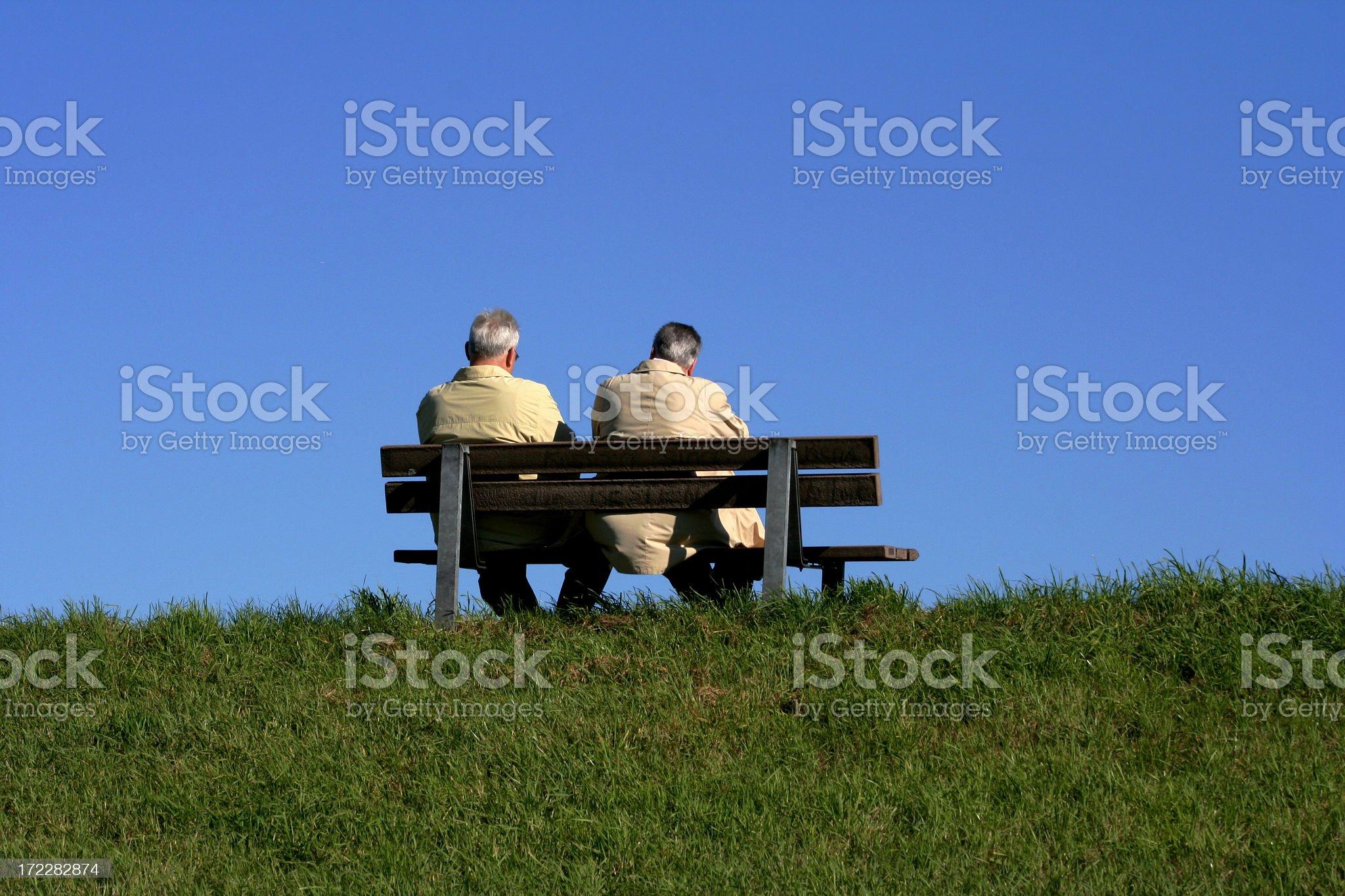 senior couple enjoying autumn weather royalty-free stock photo