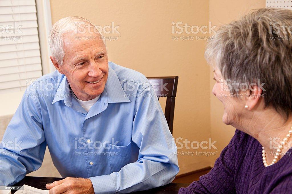 Senior couple enjoying coffee together royalty-free stock photo