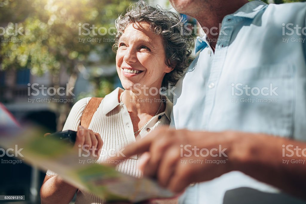 Senior couple enjoying on their vacation stock photo