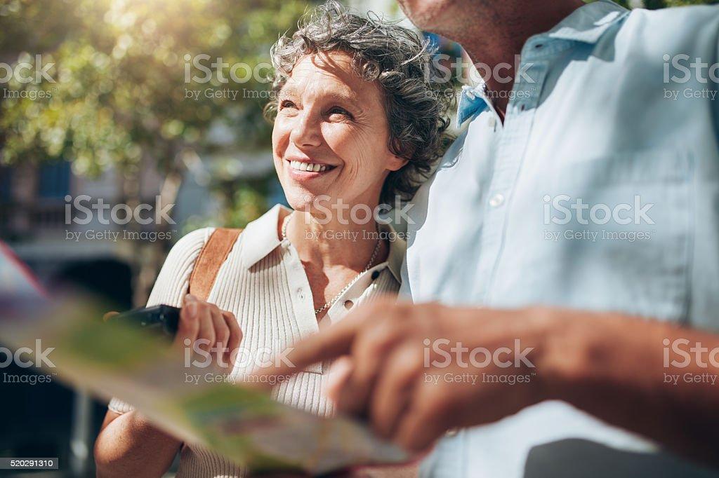 Senior couple enjoying on their vacation stock photo