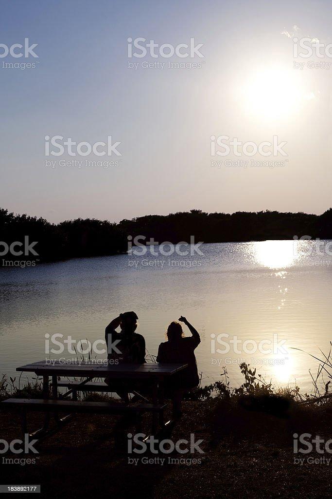 Senior couple enjoying the view stock photo