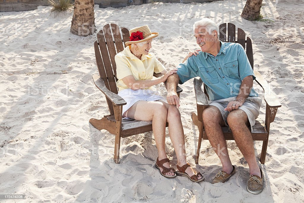 Senior couple enjoying tropical holiday royalty-free stock photo