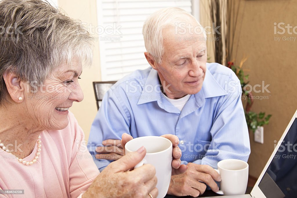 Senior couple enjoying using the computer together. Video conferencing. royalty-free stock photo