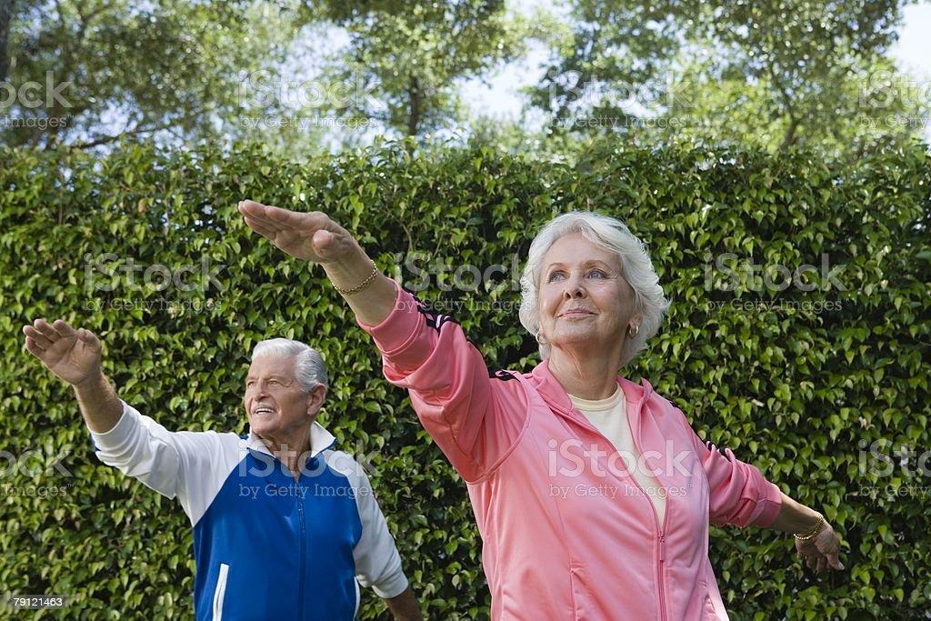 Senior couple exercising stock photo