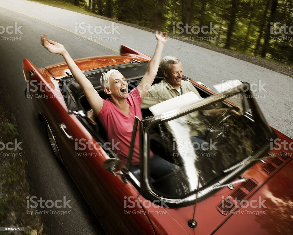 Senior Couple Going For a Drive stock photo