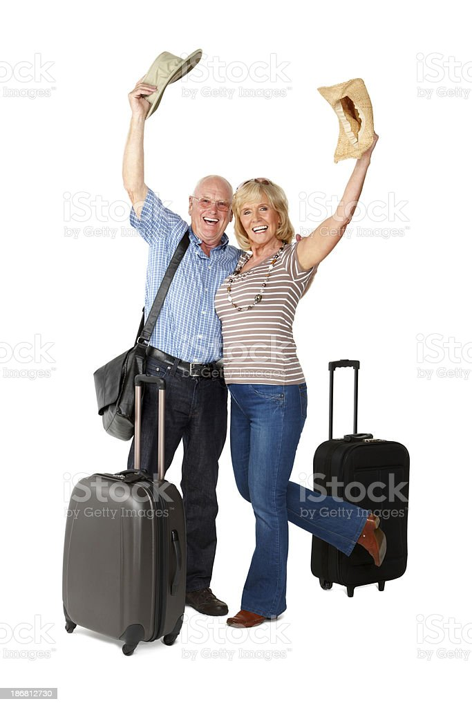 Senior Couple Going on Vacation - Isolated royalty-free stock photo