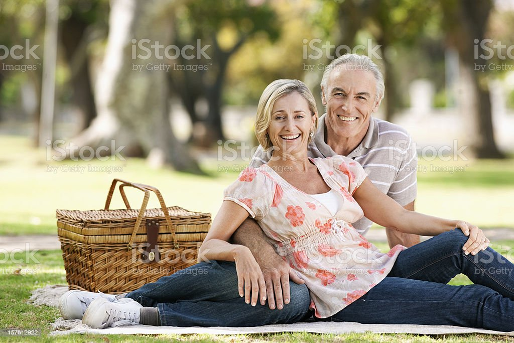 Senior Couple Having a Picnic royalty-free stock photo