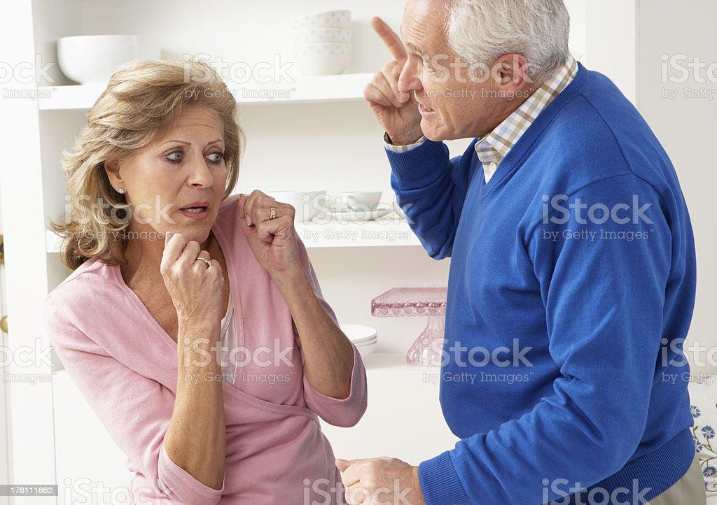 Senior Couple Having Argument At Home stock photo