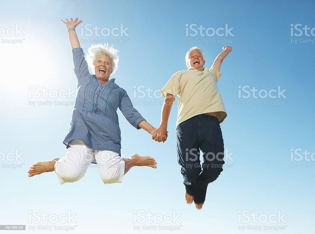 Senior couple having fun royalty-free stock photo