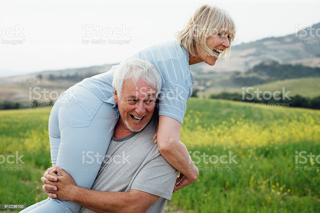 Senior Couple Having Fun Together stock photo