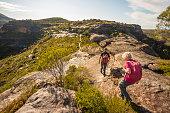 Senior Couple Hiking in Spectacular Blue Mountains Australian Landscape