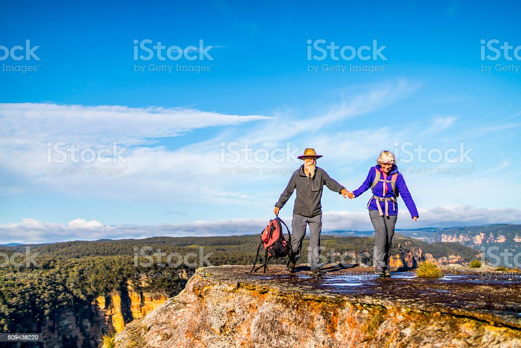 Senior Couple Hiking in the Australia outback. stock photo