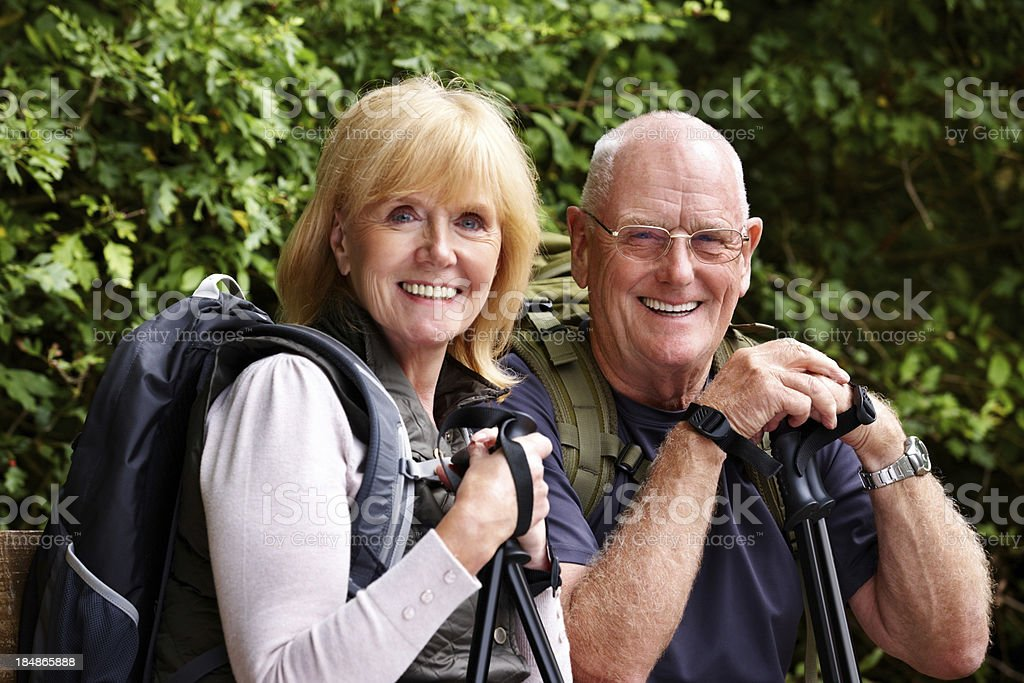 Senior Couple Hiking royalty-free stock photo
