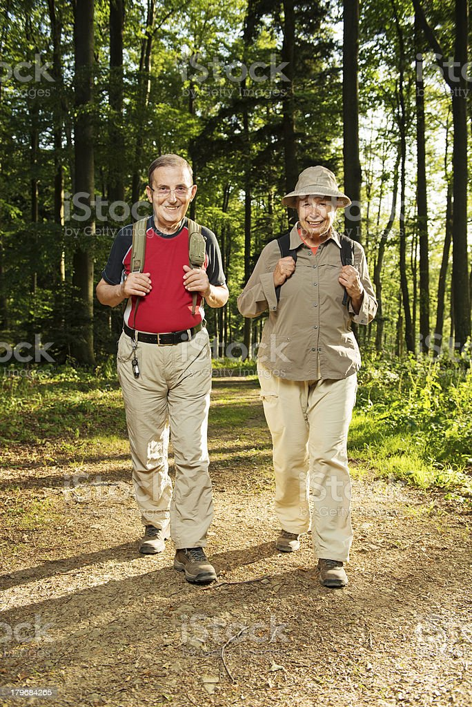 Senior Couple Hiking Sun royalty-free stock photo
