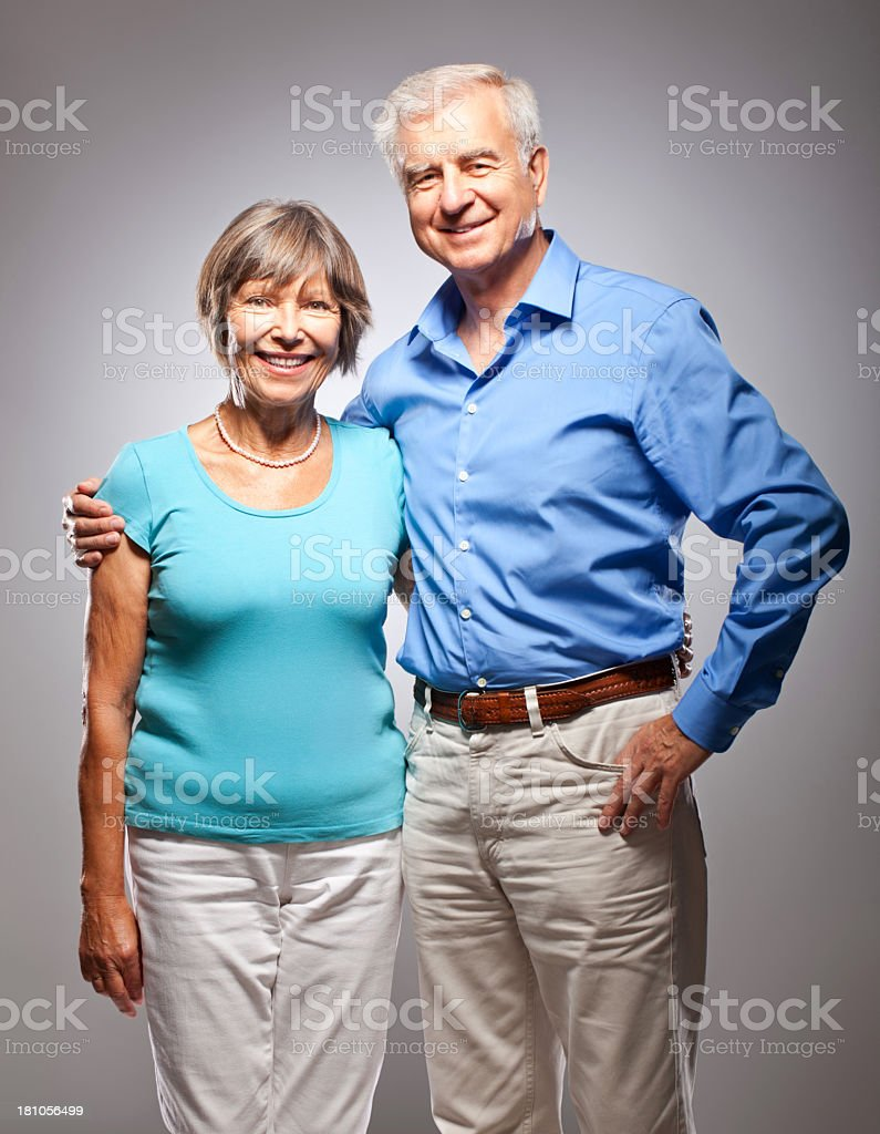 Senior couple hugging royalty-free stock photo