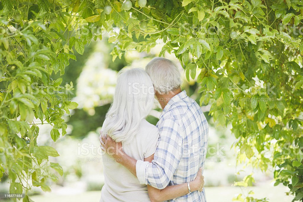 Senior couple hugging under tree royalty-free stock photo