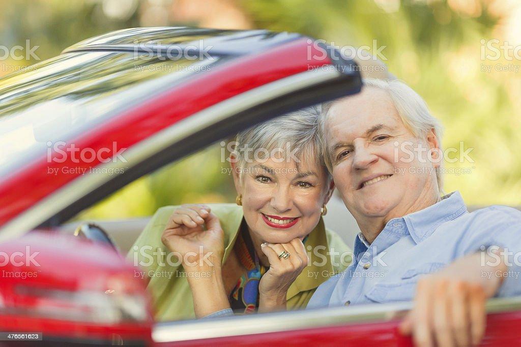 senior couple in a car stock photo