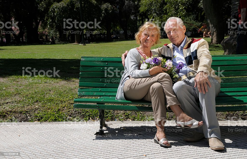 Senior Couple in a Park royalty-free stock photo